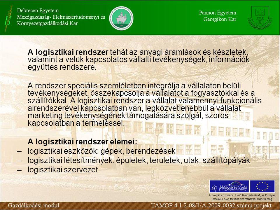 A logisztikai rendszer tehát az anyagi áramlások és készletek, valamint a velük kapcsolatos vállalti tevékenységek, információk együttes rendszere. A