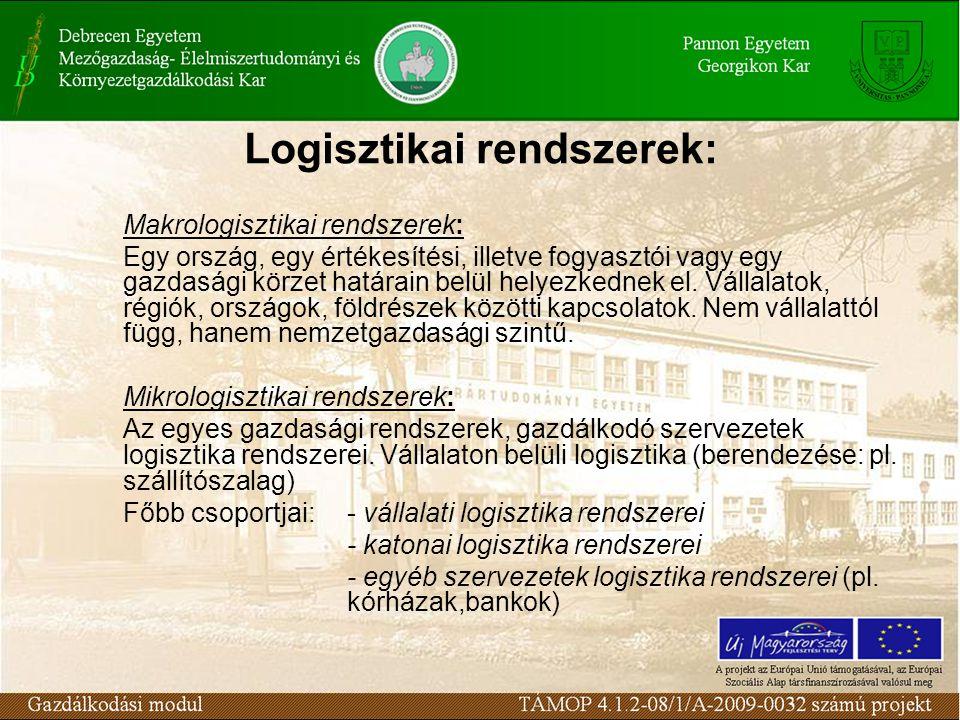 Logisztikai rendszerek: Makrologisztikai rendszerek: Egy ország, egy értékesítési, illetve fogyasztói vagy egy gazdasági körzet határain belül helyezkednek el.