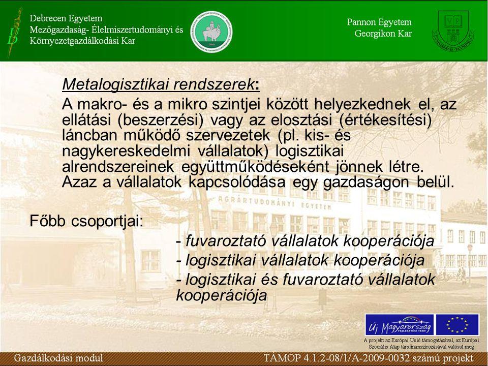 Metalogisztikai rendszerek: A makro- és a mikro szintjei között helyezkednek el, az ellátási (beszerzési) vagy az elosztási (értékesítési) láncban működő szervezetek (pl.