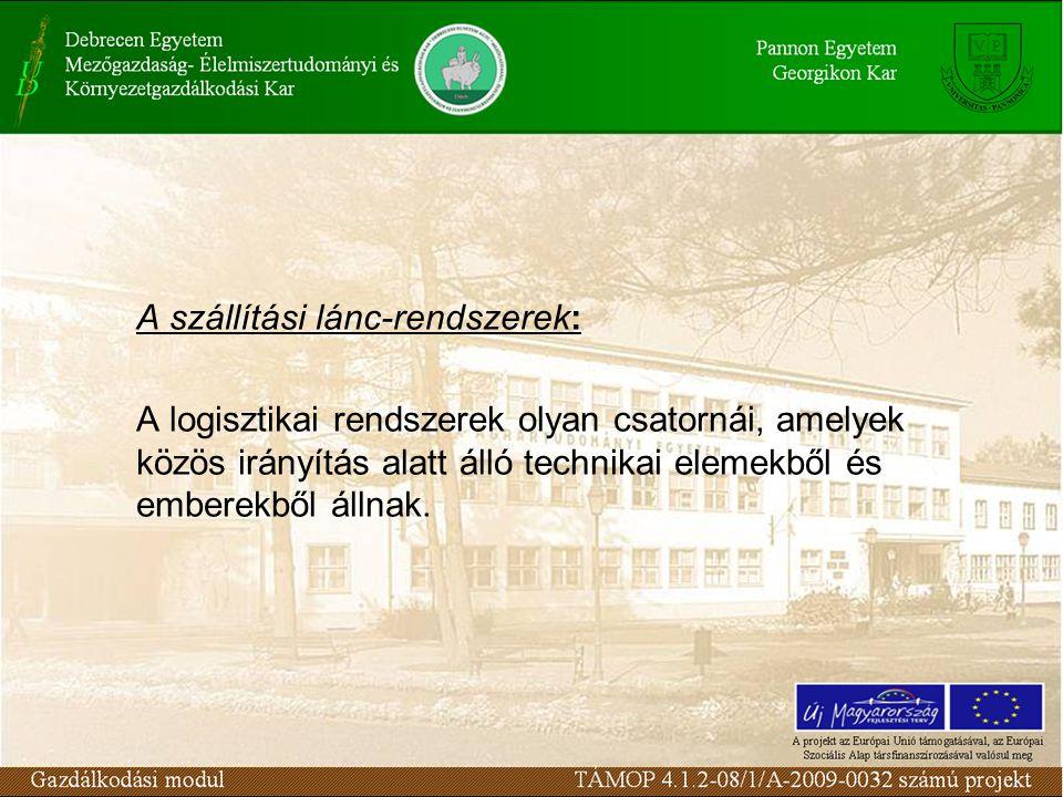 A szállítási lánc-rendszerek: A logisztikai rendszerek olyan csatornái, amelyek közös irányítás alatt álló technikai elemekből és emberekből állnak.