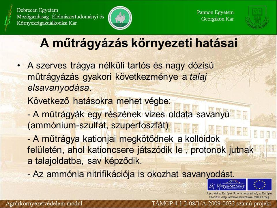 A műtrágyázás környezeti hatásai A szerves trágya nélküli tartós és nagy dózisú műtrágyázás gyakori következménye a talaj elsavanyodása.