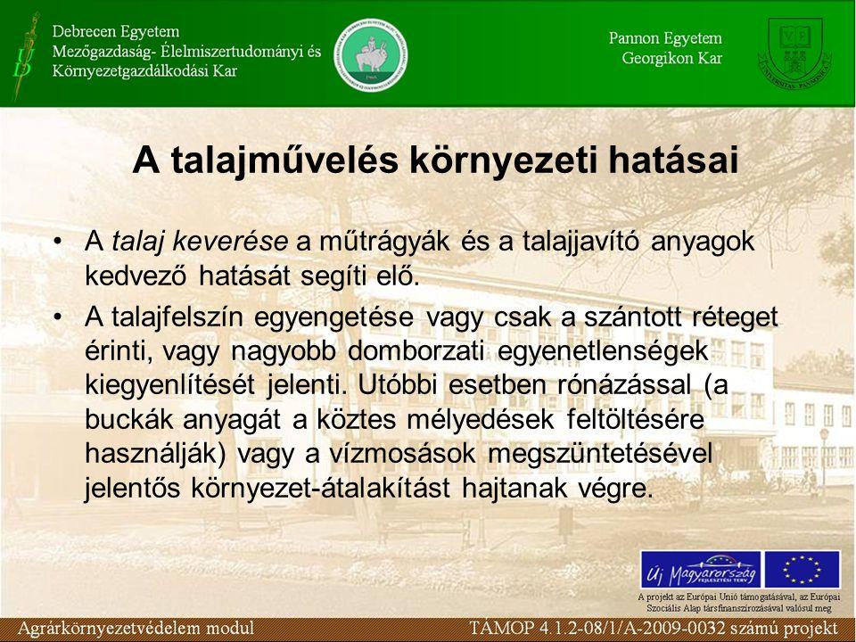 A talajművelés környezeti hatásai A talaj keverése a műtrágyák és a talajjavító anyagok kedvező hatását segíti elő.