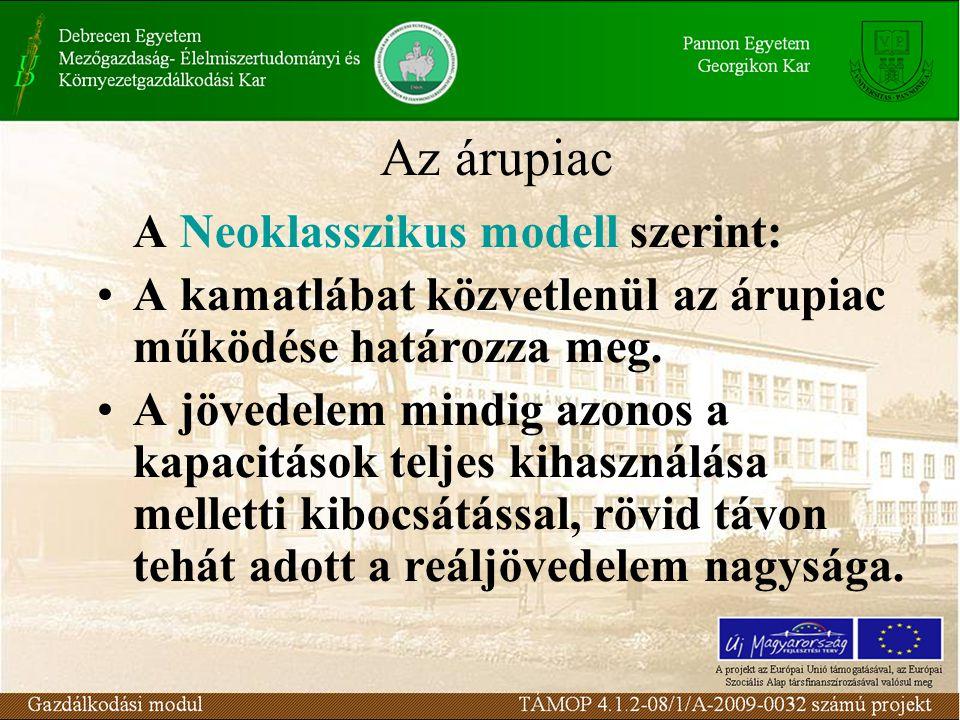 Az árupiac a neoklasszikus modellben Az árupiaci egyensúly azon múlik, hogy a kiadások összetétele milyen feltételek mellett egyezik meg a tervezettel.