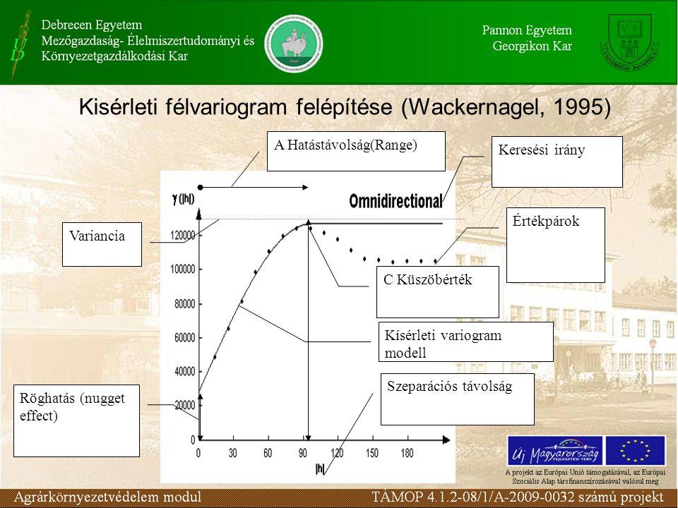 Röghatás (nugget effect) Variancia C Küszöbérték Értékpárok Kísérleti variogram modell A Hatástávolság(Range) Keresési irány Szeparációs távolság Kisérleti félvariogram felépítése (Wackernagel, 1995)