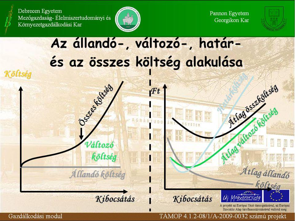 Az állandó-, változó-, határ- és az összes költség alakulása Az állandó-, változó-, határ- és az összes költség alakulása Ft Átlag állandó költség Átl