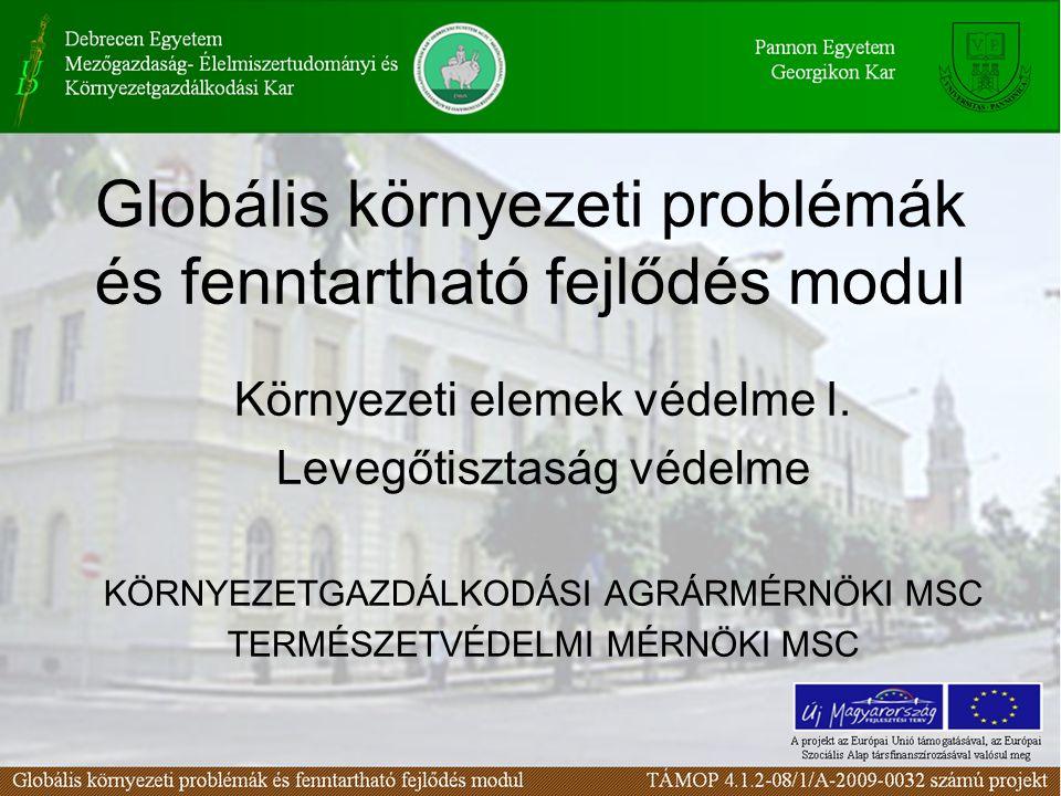 Globális környezeti problémák és fenntartható fejlődés modul Környezeti elemek védelme I. Levegőtisztaság védelme KÖRNYEZETGAZDÁLKODÁSI AGRÁRMÉRNÖKI M