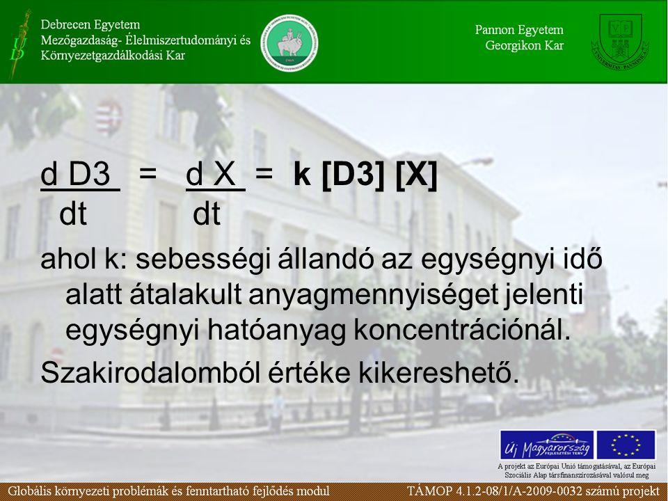 d D3 = d X = k [D3] [X] dt dt ahol k: sebességi állandó az egységnyi idő alatt átalakult anyagmennyiséget jelenti egységnyi hatóanyag koncentrációnál.