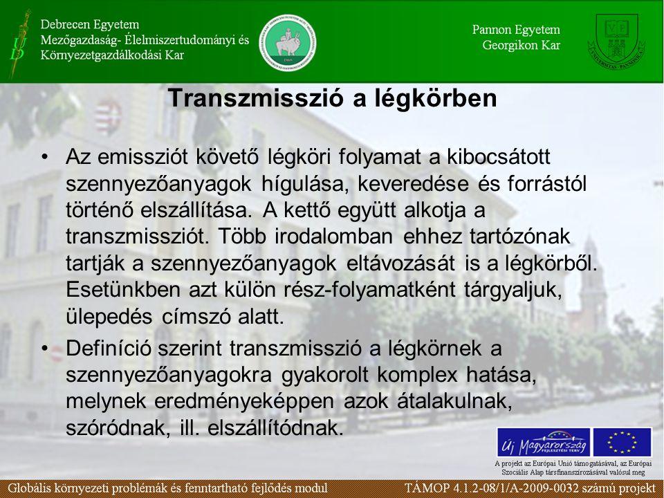 Transzmisszió a légkörben Az emissziót követő légköri folyamat a kibocsátott szennyezőanyagok hígulása, keveredése és forrástól történő elszállítása.