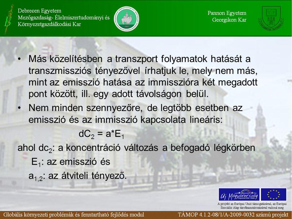 Más közelítésben a transzport folyamatok hatását a transzmissziós tényezővel írhatjuk le, mely nem más, mint az emisszió hatása az immisszióra két meg