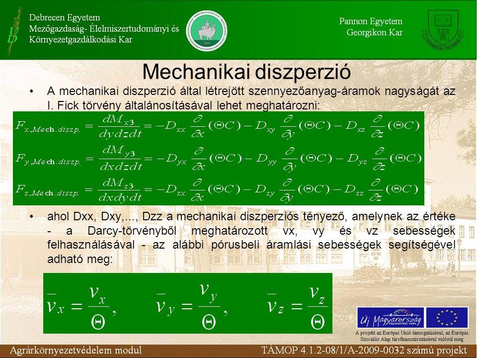 A mechanikai diszperzió által létrejött szennyezőanyag-áramok nagyságát az I. Fick törvény általánosításával lehet meghatározni: ahol Dxx, Dxy,..., Dz