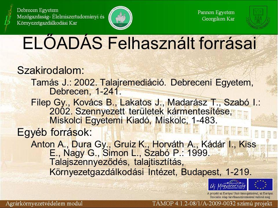 Szakirodalom: Tamás J.: 2002. Talajremediáció. Debreceni Egyetem, Debrecen, 1-241.