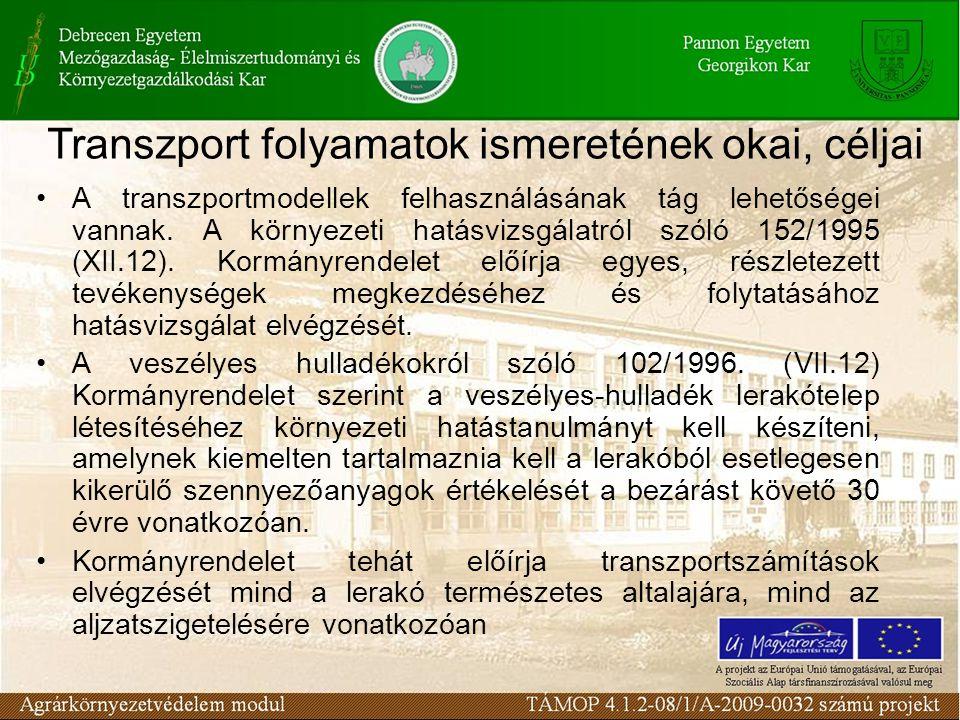 A transzportmodellek felhasználásának tág lehetőségei vannak. A környezeti hatásvizsgálatról szóló 152/1995 (XII.12). Kormányrendelet előírja egyes, r