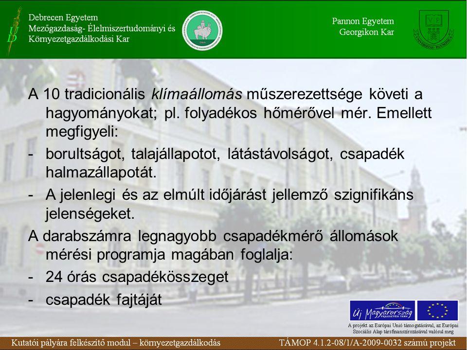 A 10 tradicionális klímaállomás műszerezettsége követi a hagyományokat; pl.