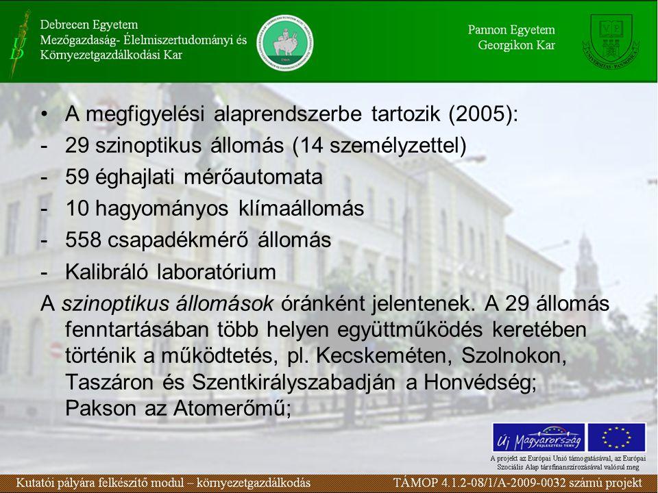 A megfigyelési alaprendszerbe tartozik (2005): -29 szinoptikus állomás (14 személyzettel) -59 éghajlati mérőautomata -10 hagyományos klímaállomás -558 csapadékmérő állomás -Kalibráló laboratórium A szinoptikus állomások óránként jelentenek.