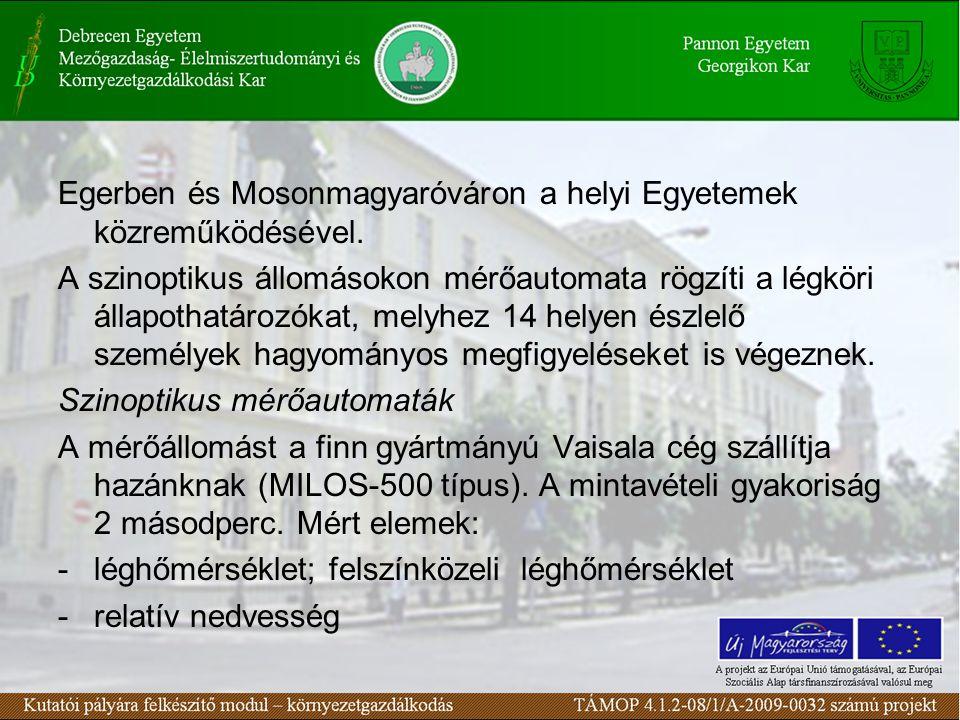 Egerben és Mosonmagyaróváron a helyi Egyetemek közreműködésével. A szinoptikus állomásokon mérőautomata rögzíti a légköri állapothatározókat, melyhez