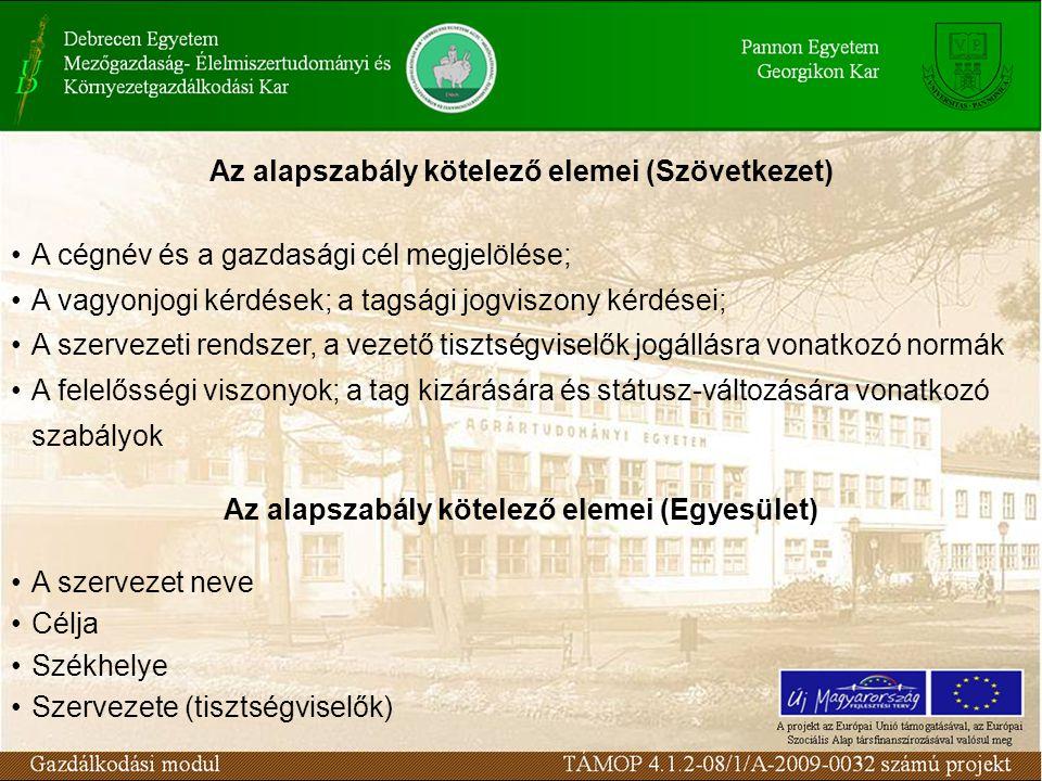 Az alapszabály kötelező elemei (Szövetkezet) A cégnév és a gazdasági cél megjelölése; A vagyonjogi kérdések; a tagsági jogviszony kérdései; A szerveze