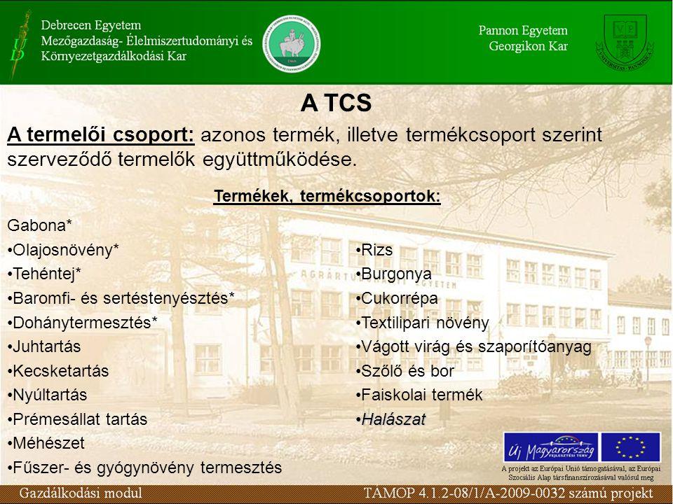 A TCS A termelői csoport: azonos termék, illetve termékcsoport szerint szerveződő termelők együttműködése. Termékek, termékcsoportok: Gabona* Olajosnö