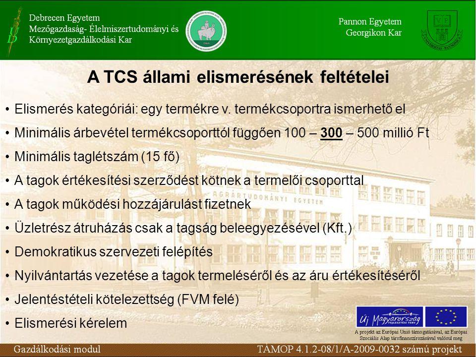 A TCS állami elismerésének feltételei Elismerés kategóriái: egy termékre v. termékcsoportra ismerhető el Minimális árbevétel termékcsoporttól függően