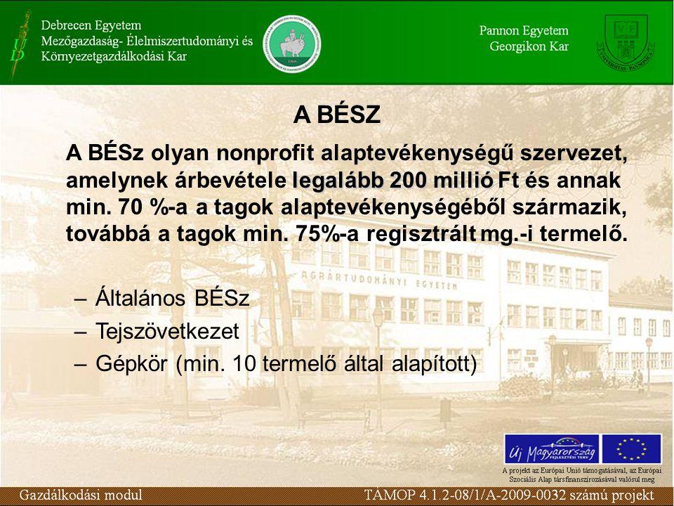 legalább 200 millió A BÉSz olyan nonprofit alaptevékenységű szervezet, amelynek árbevétele legalább 200 millió Ft és annak min. 70 %-a a tagok alaptev