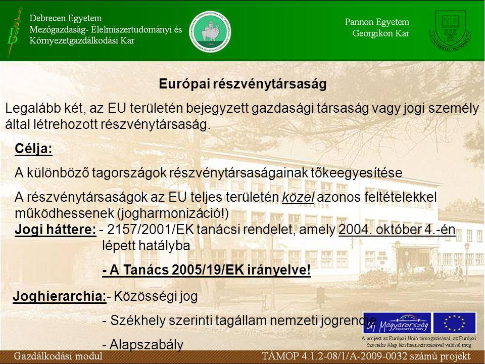 Európai részvénytársaság Jogi háttere: - 2157/2001/EK tanácsi rendelet, amely 2004. október 4.-én lépett hatályba - A Tanács 2005/19/EK irányelve! Jog