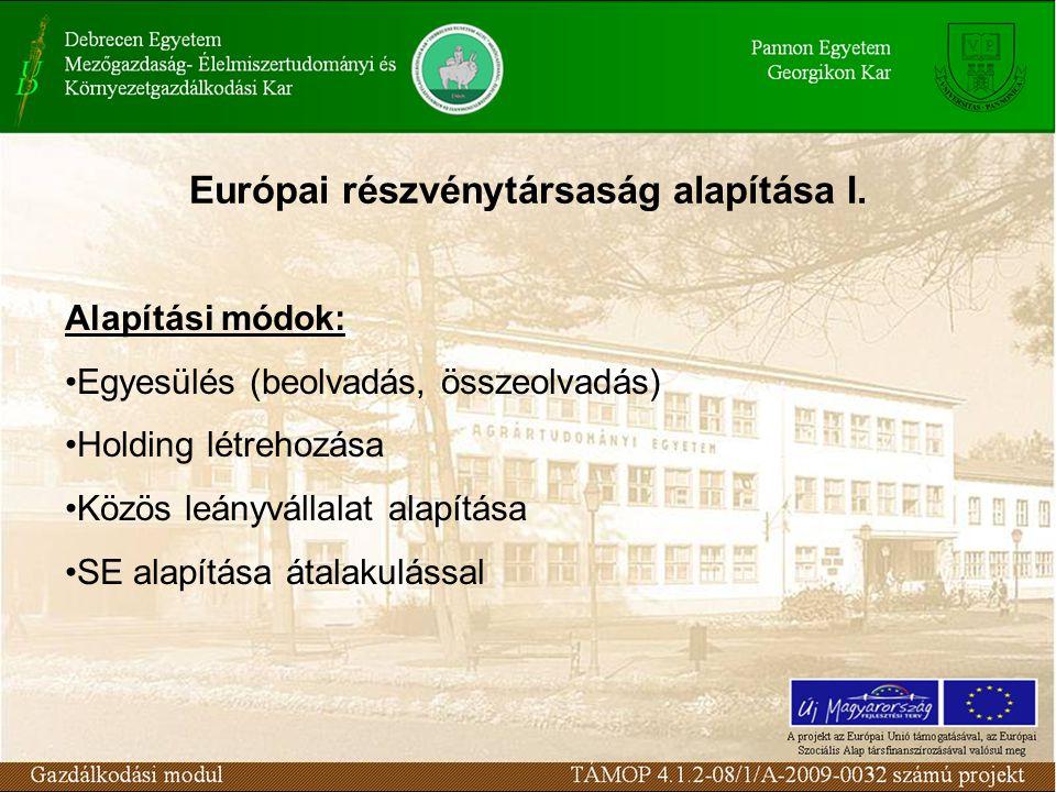 Európai részvénytársaság alapítása I. Alapítási módok: Egyesülés (beolvadás, összeolvadás) Holding létrehozása Közös leányvállalat alapítása SE alapít