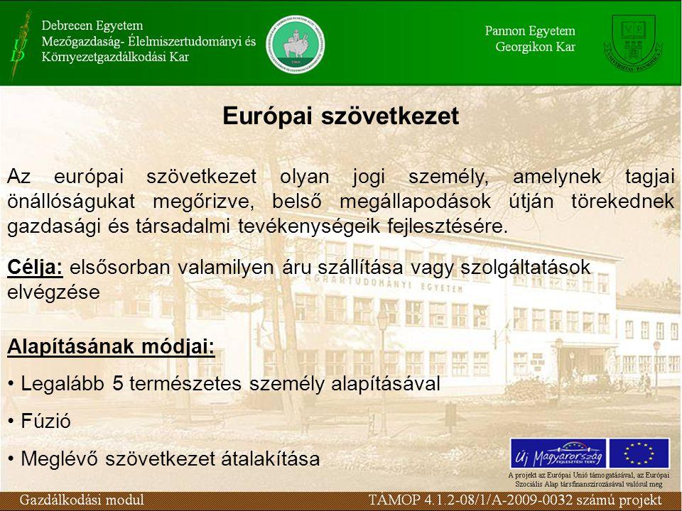 Európai szövetkezet Az európai szövetkezet olyan jogi személy, amelynek tagjai önállóságukat megőrizve, belső megállapodások útján törekednek gazdasági és társadalmi tevékenységeik fejlesztésére.