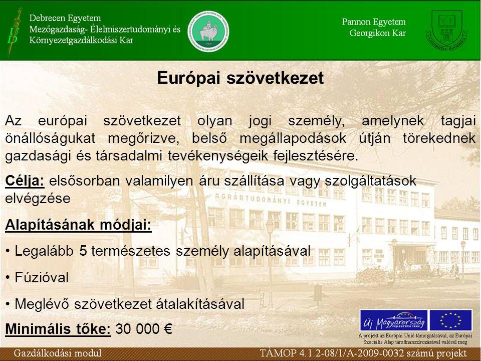 Európai szövetkezet Az európai szövetkezet olyan jogi személy, amelynek tagjai önállóságukat megőrizve, belső megállapodások útján törekednek gazdaság