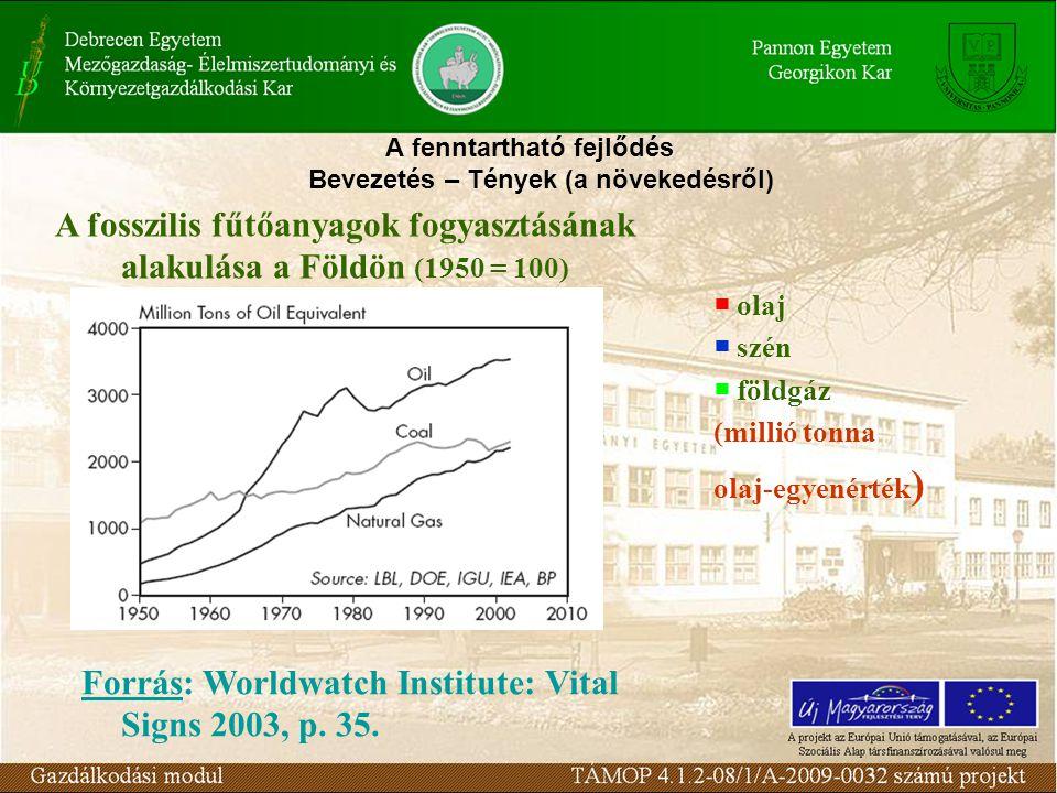 A fenntartható fejlődés Bevezetés – Tények (a növekedésről) A fosszilis fűtőanyagok fogyasztásának alakulása a Földön (1950 = 100)  olaj  szén  föl