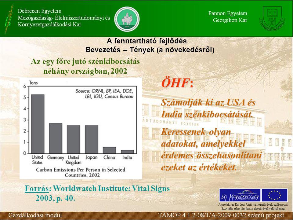 A fenntartható fejlődés Bevezetés – Tények (a növekedésről) Forrás: Worldwatch Institute: Vital Signs 2003, p.