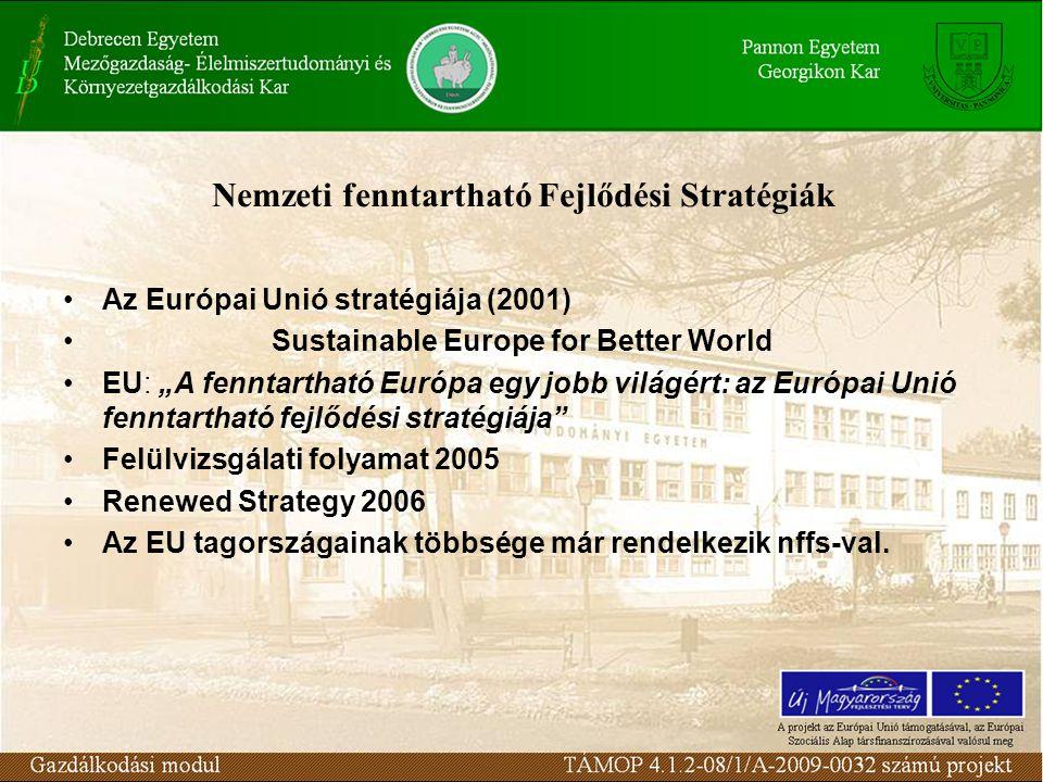 """Nemzeti fenntartható Fejlődési Stratégiák Az Európai Unió stratégiája (2001) Sustainable Europe for Better World EU: """"A fenntartható Európa egy jobb világért: az Európai Unió fenntartható fejlődési stratégiája Felülvizsgálati folyamat 2005 Renewed Strategy 2006 Az EU tagországainak többsége már rendelkezik nffs-val."""