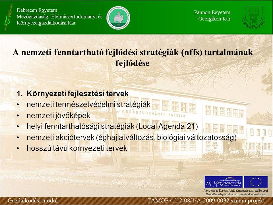 A nemzeti fenntartható fejlődési stratégiák (nffs) tartalmának fejlődése 1.Környezeti fejlesztési tervek nemzeti természetvédelmi stratégiák nemzeti jövőképek helyi fenntarthatósági stratégiák (Local Agenda 21) nemzeti akciótervek (éghajlatváltozás, biológiai változatosság) hosszú távú környezeti tervek