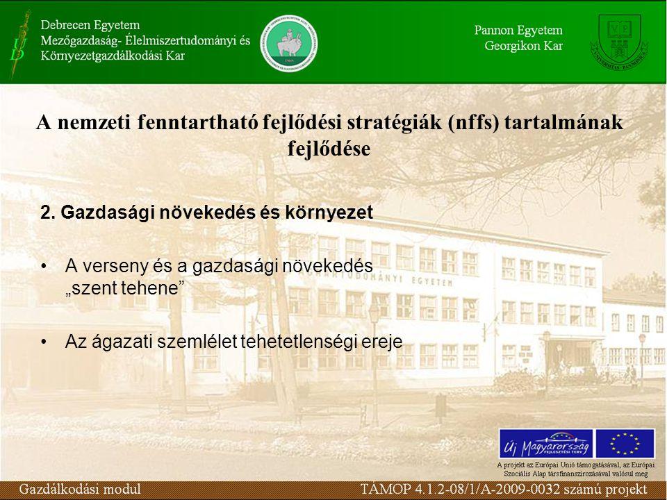 A nemzeti fenntartható fejlődési stratégiák (nffs) tartalmának fejlődése 2.