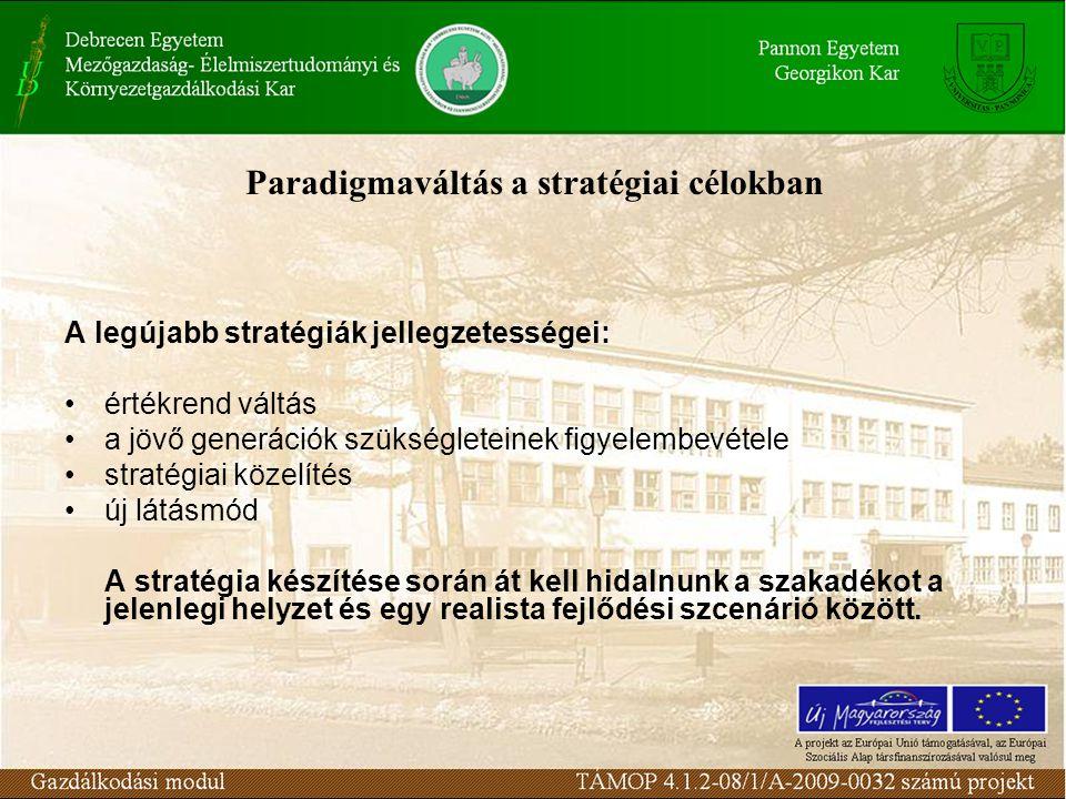 Paradigmaváltás a stratégiai célokban A legújabb stratégiák jellegzetességei: értékrend váltás a jövő generációk szükségleteinek figyelembevétele stra
