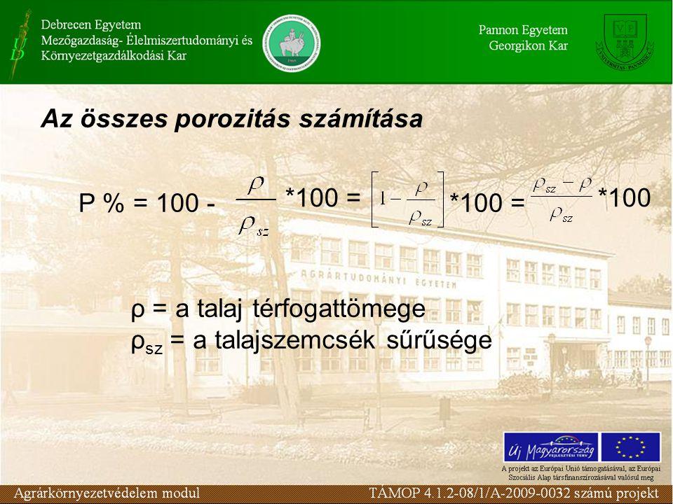 Az összes porozitás számítása P % = 100 - *100 = *100 ρ = a talaj térfogattömege ρ sz = a talajszemcsék sűrűsége