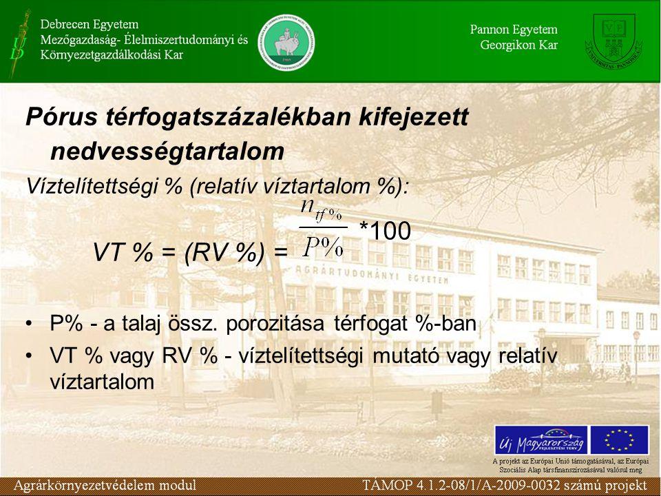 Pórus térfogatszázalékban kifejezett nedvességtartalom Víztelítettségi % (relatív víztartalom %): VT % = (RV %) = P% - a talaj össz. porozitása térfog