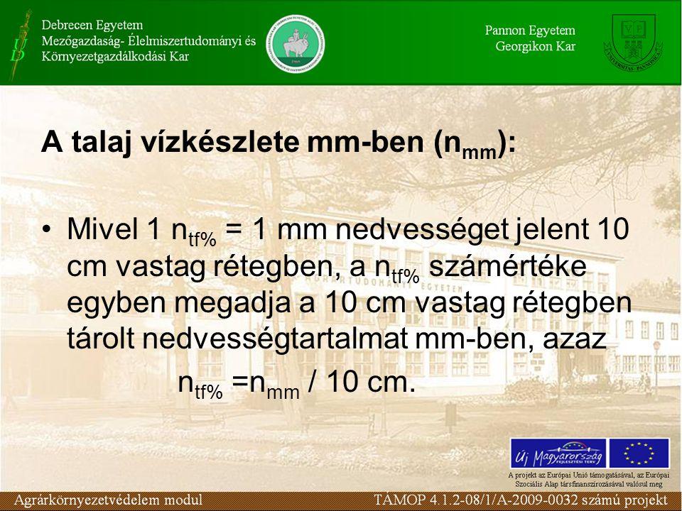 A talaj vízkészlete mm-ben (n mm ): Mivel 1 n tf% = 1 mm nedvességet jelent 10 cm vastag rétegben, a n tf% számértéke egyben megadja a 10 cm vastag ré