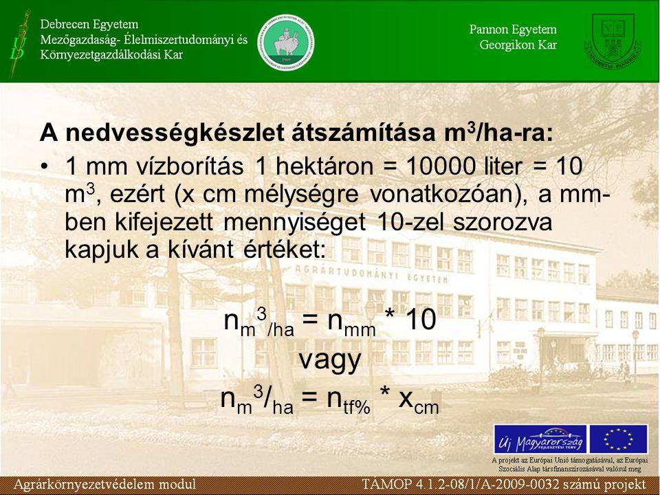 A nedvességkészlet átszámítása m 3 /ha-ra: 1 mm vízborítás 1 hektáron = 10000 liter = 10 m 3, ezért (x cm mélységre vonatkozóan), a mm- ben kifejezett