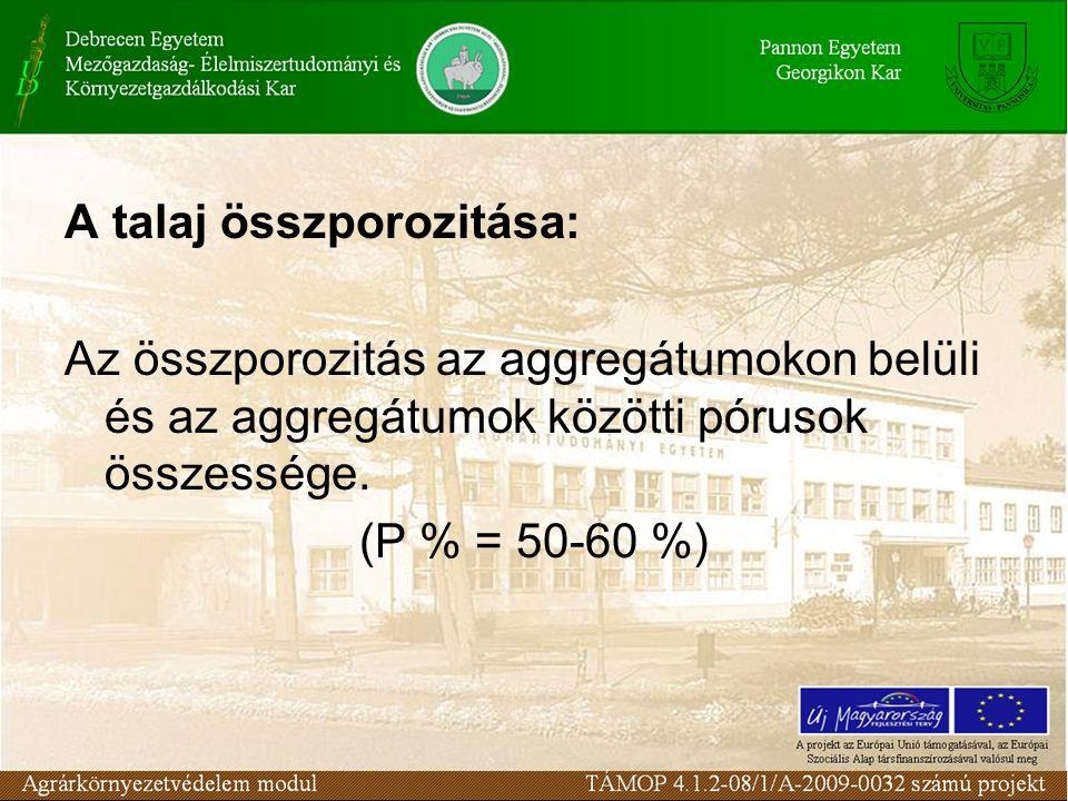 A talaj összporozitása: Az összporozitás az aggregátumokon belüli és az aggregátumok közötti pórusok összessége. (P % = 50-60 %)