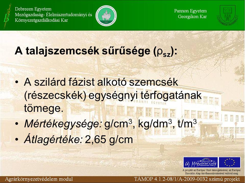 A talajszemcsék sűrűsége (ρ sz ): A szilárd fázist alkotó szemcsék (részecskék) egységnyi térfogatának tömege. Mértékegysége: g/cm 3, kg/dm 3, t/m 3 Á