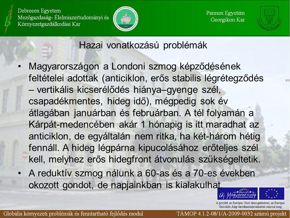 Hazai vonatkozású problémák Magyarországon a Londoni szmog képződésének feltételei adottak (anticiklon, erős stabilis légrétegződés – vertikális kicse