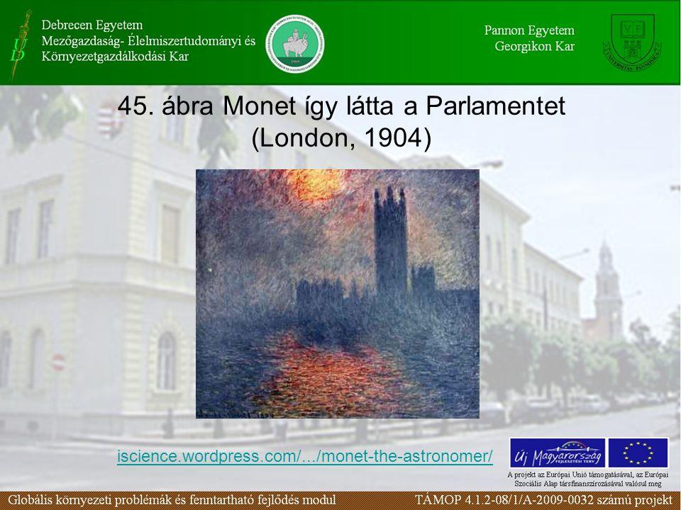 45. ábra Monet így látta a Parlamentet (London, 1904) iscience.wordpress.com/.../monet-the-astronomer/