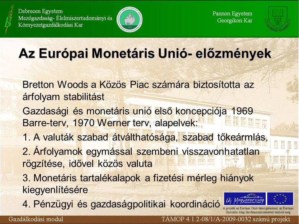 Az Európai Monetáris Unió- előzmények Bretton Woods a Közös Piac számára biztosította az árfolyam stabilitást Gazdasági és monetáris unió első koncepciója 1969 Barre-terv, 1970 Werner terv, alapelvek: 1.