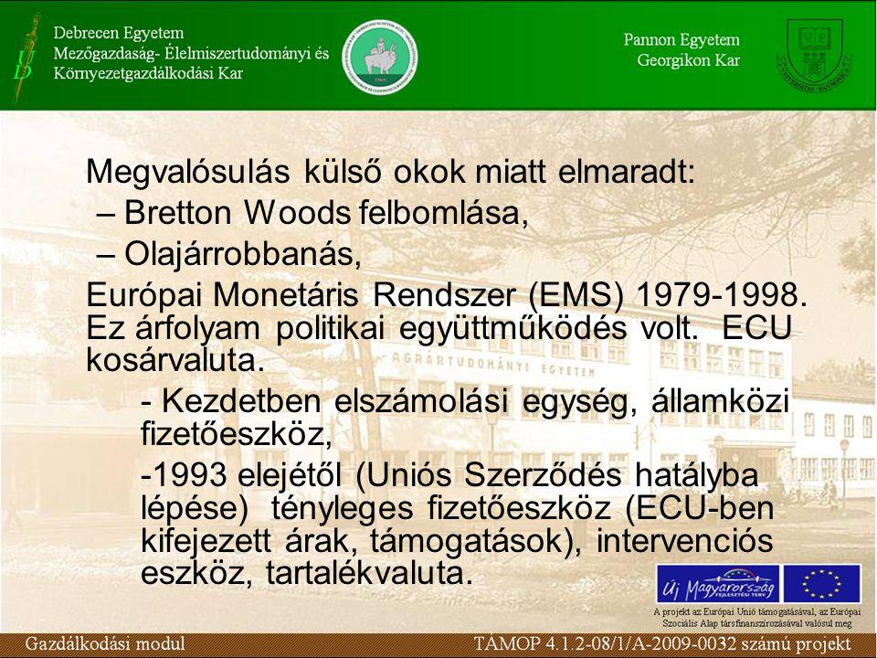 Megvalósulás külső okok miatt elmaradt: –Bretton Woods felbomlása, –Olajárrobbanás, Európai Monetáris Rendszer (EMS) 1979-1998.