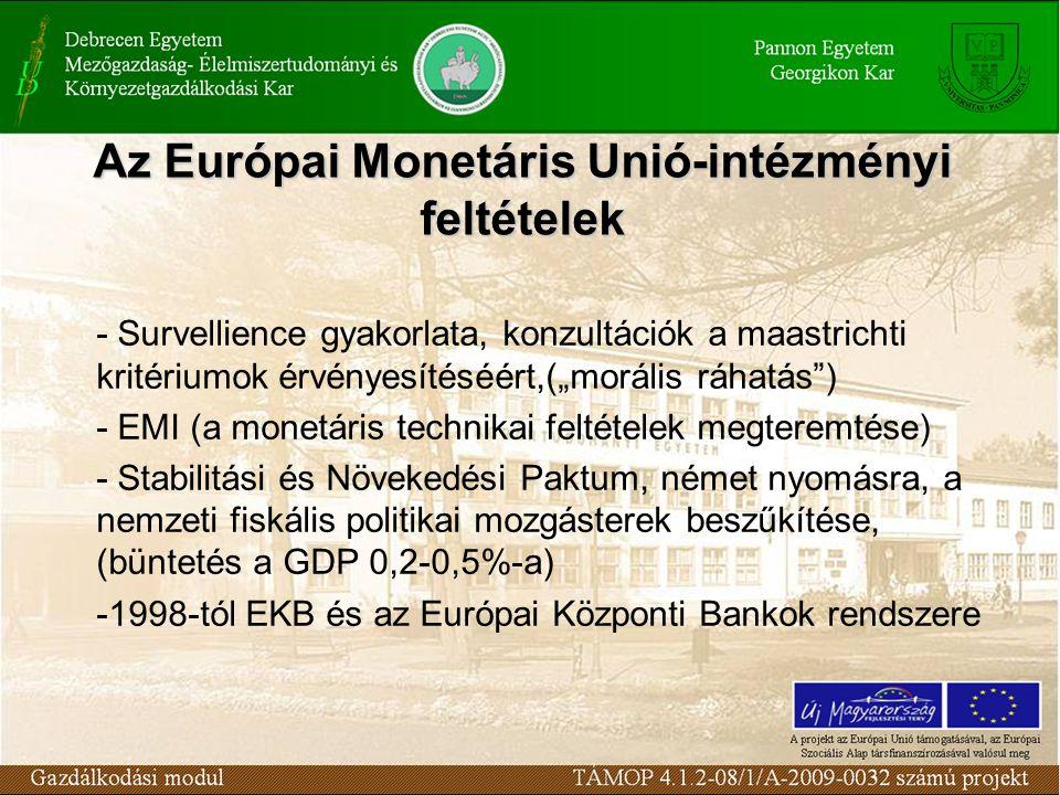 """Az Európai Monetáris Unió-intézményi feltételek - Survellience gyakorlata, konzultációk a maastrichti kritériumok érvényesítéséért,(""""morális ráhatás ) - EMI (a monetáris technikai feltételek megteremtése) - Stabilitási és Növekedési Paktum, német nyomásra, a nemzeti fiskális politikai mozgásterek beszűkítése, (büntetés a GDP 0,2-0,5%-a) -1998-tól EKB és az Európai Központi Bankok rendszere"""