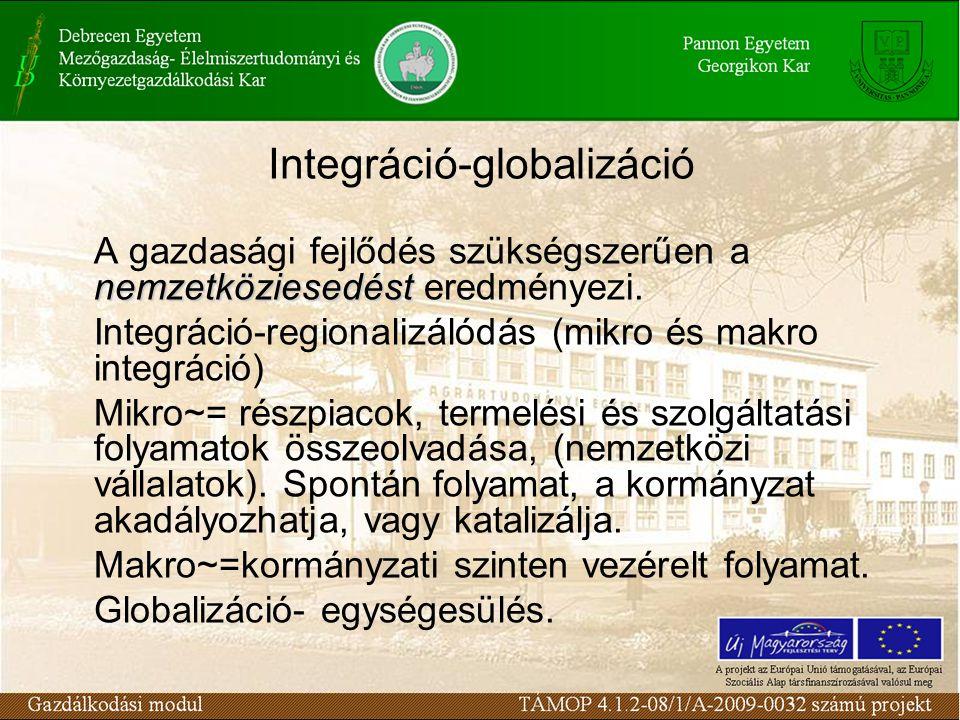 Integráció-globalizáció nemzetköziesedést A gazdasági fejlődés szükségszerűen a nemzetköziesedést eredményezi.