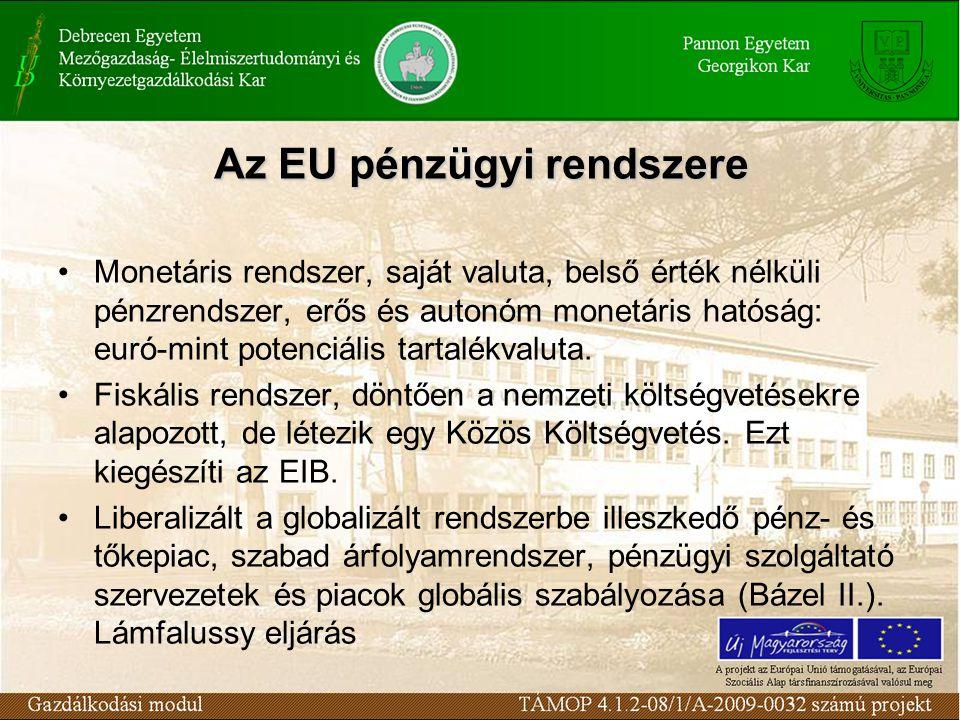 Az EU pénzügyi rendszere Monetáris rendszer, saját valuta, belső érték nélküli pénzrendszer, erős és autonóm monetáris hatóság: euró-mint potenciális tartalékvaluta.
