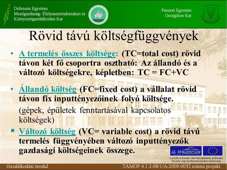 Rövid távú költségfüggvények A termelés összes költsége: (TC=total cost) rövid távon két fő csoportra osztható: Az állandó és a változó költségekre, k