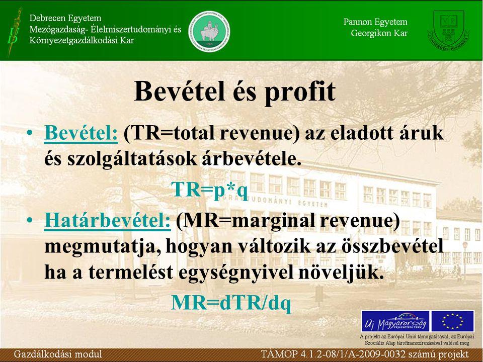 Bevétel és profit Bevétel: (TR=total revenue) az eladott áruk és szolgáltatások árbevétele. TR=p*q Határbevétel: (MR=marginal revenue) megmutatja, hog