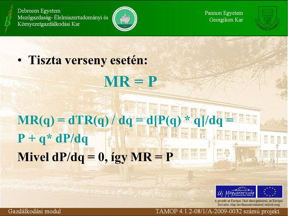 Tiszta verseny esetén: MR = P MR(q) = dTR(q) / dq = d[P(q) * q]/dq = P + q* dP/dq Mivel dP/dq = 0, így MR = P