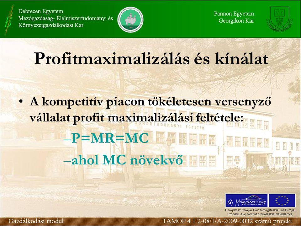 Profitmaximalizálás és kínálat A kompetitív piacon tökéletesen versenyző vállalat profit maximalizálási feltétele: –P=MR=MC –ahol MC növekvő